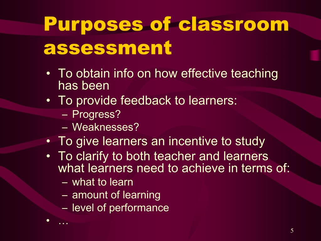 Purposes of classroom assessment