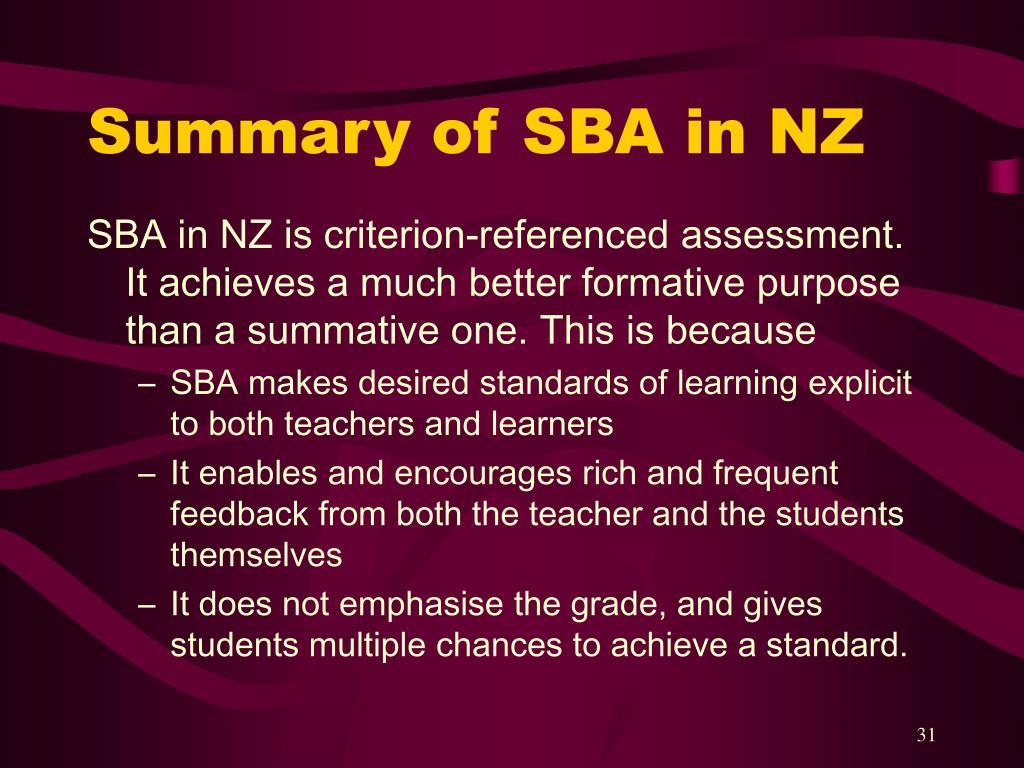 Summary of SBA in NZ
