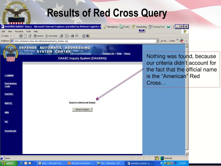 Results of Red Cross Query