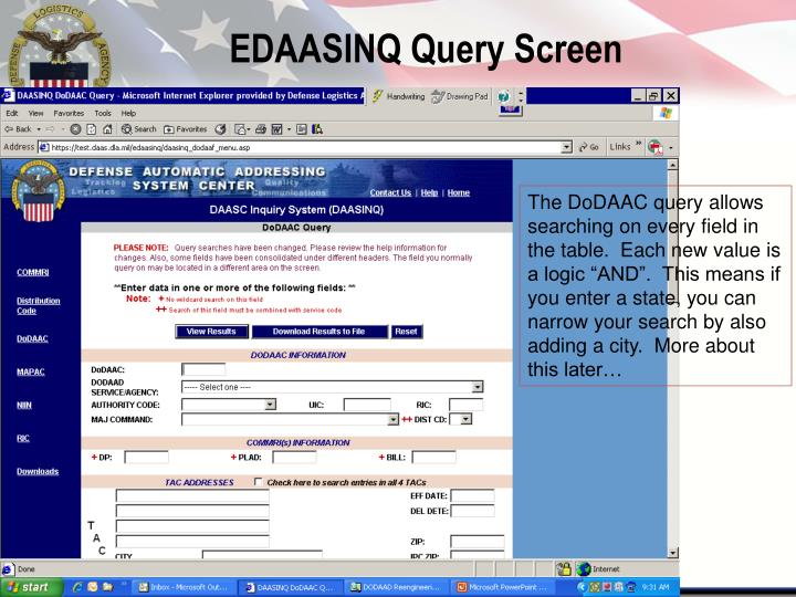 EDAASINQ Query Screen