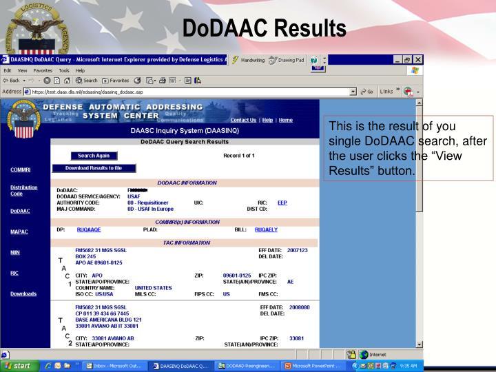 DoDAAC Results