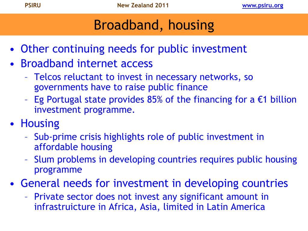 Broadband, housing