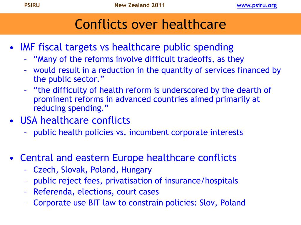 Conflicts over healthcare