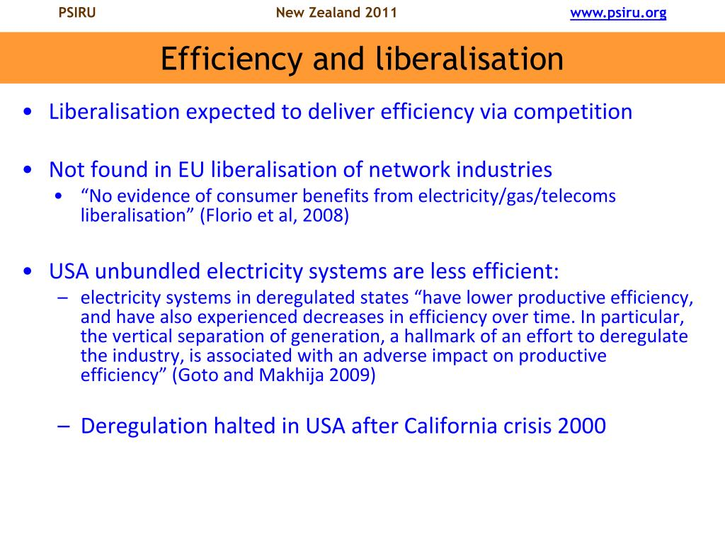 Efficiency and liberalisation