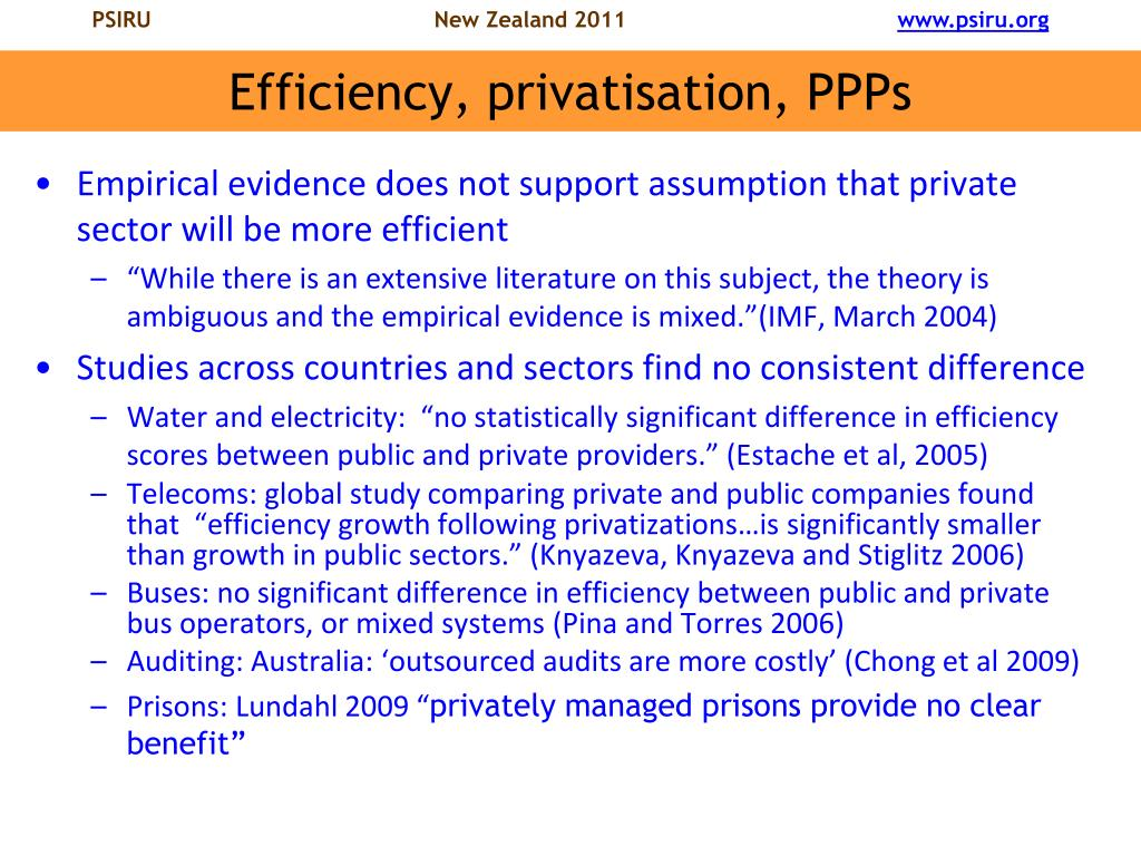 Efficiency, privatisation, PPPs