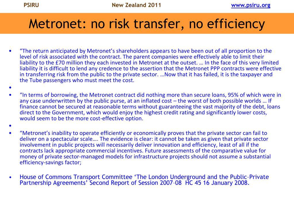Metronet: no risk transfer, no efficiency