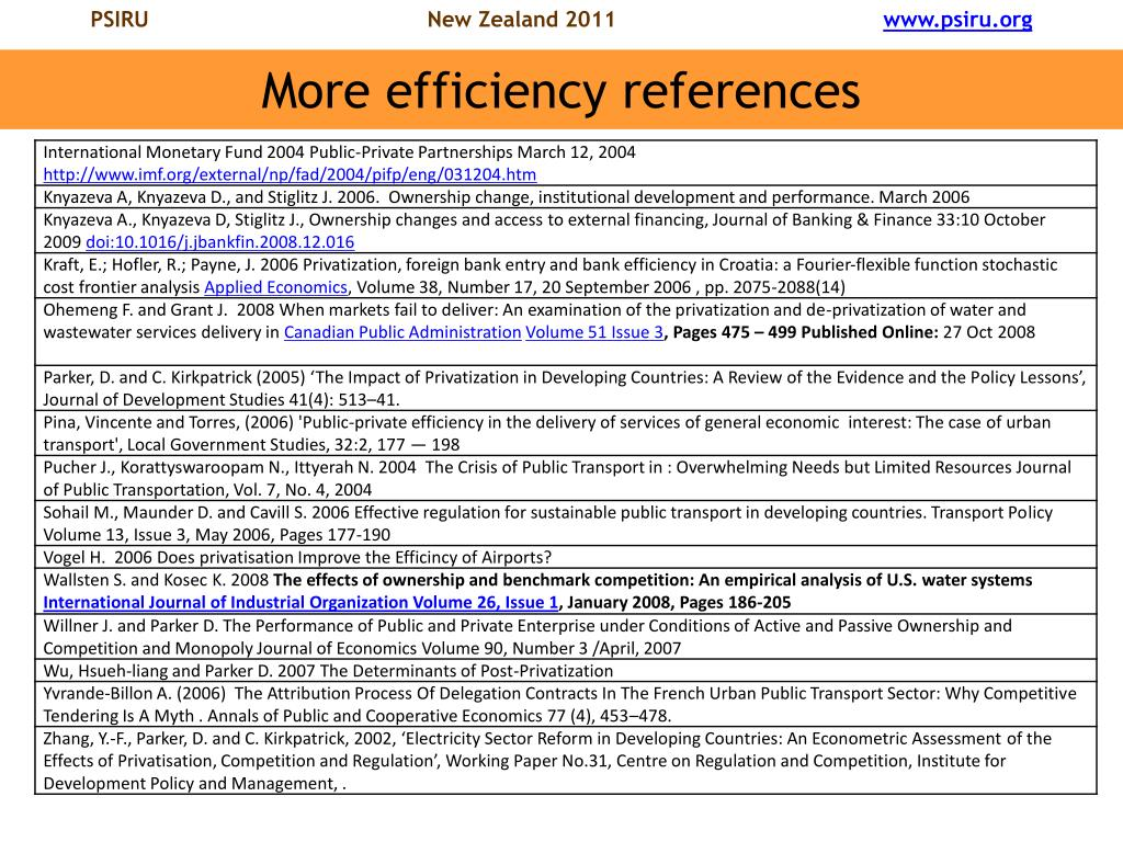 More efficiency references