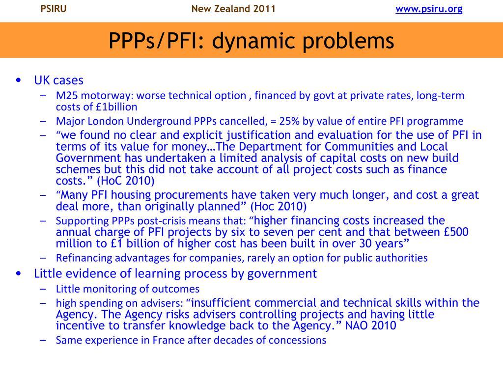 PPPs/PFI: dynamic problems
