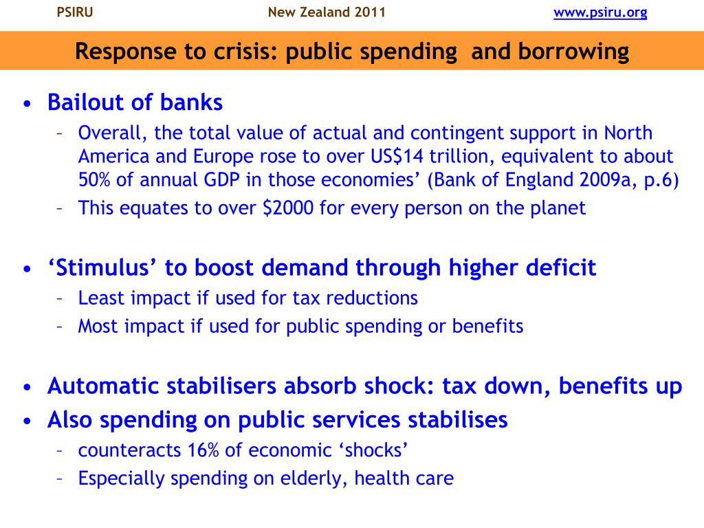 Response to crisis: public spending  and borrowing