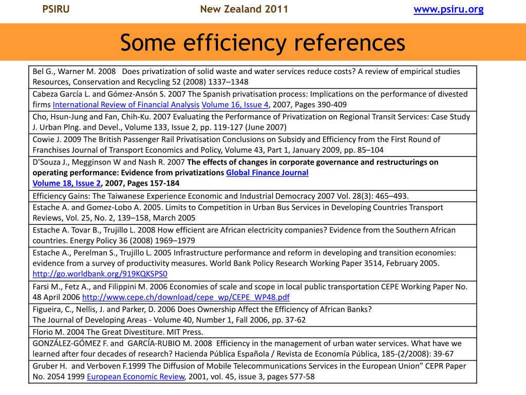 Some efficiency references