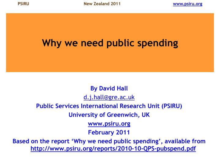 Why we need public spending