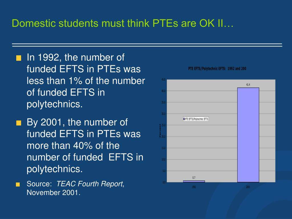 Domestic students must think PTEs are OK II…