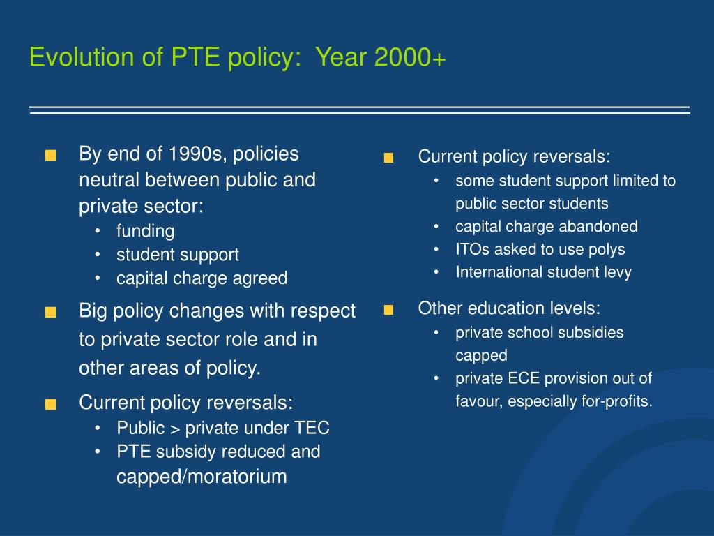 Evolution of PTE policy:  Year 2000+