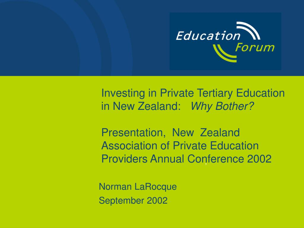 Investing in Private Tertiary Education in New Zealand: