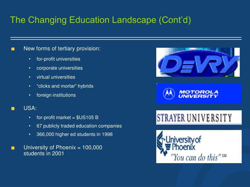 The Changing Education Landscape (Cont'd)