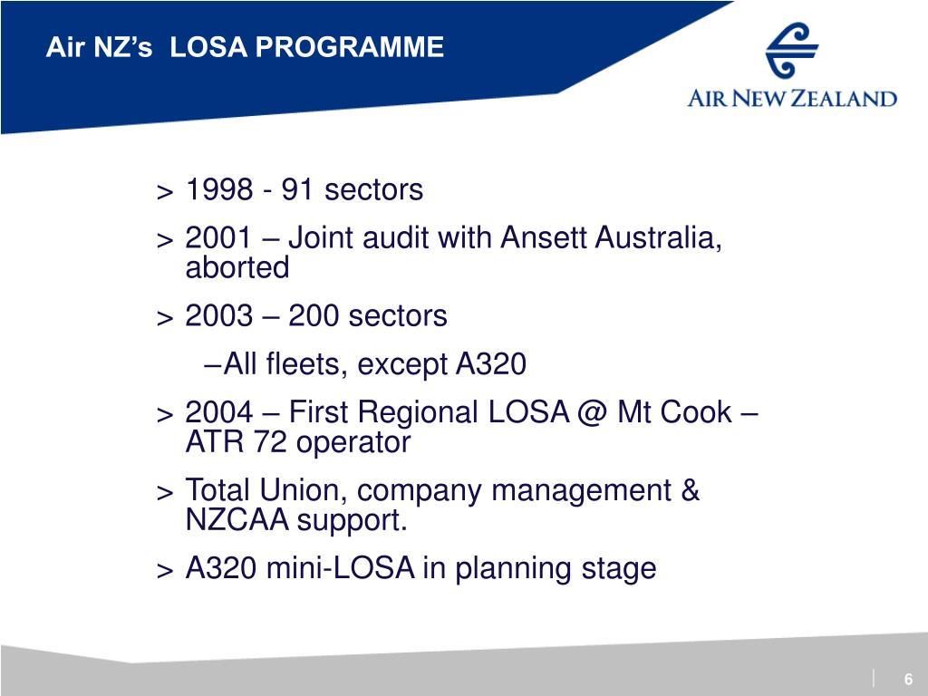Air NZ's  LOSA PROGRAMME