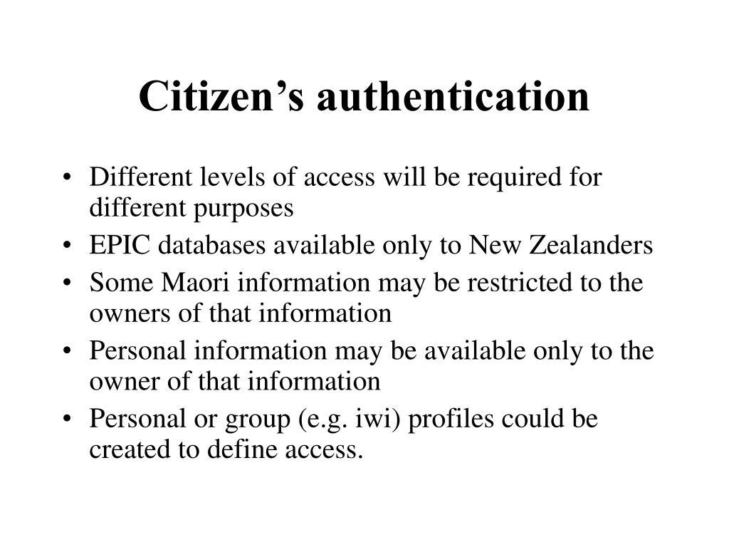 Citizen's authentication