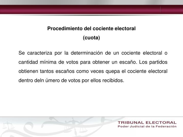 Procedimiento del cociente electoral