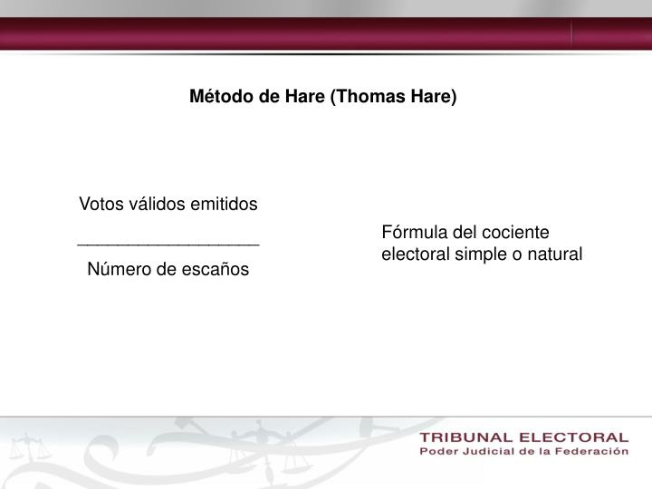 Método de Hare (Thomas Hare)