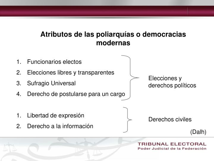Atributos de las poliarquías o democracias modernas