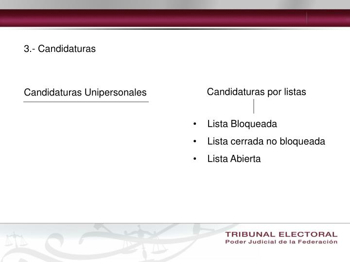 3.- Candidaturas