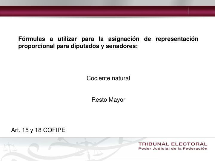 Fórmulas a utilizar para la asignación de representación proporcional para díputados y senadores: