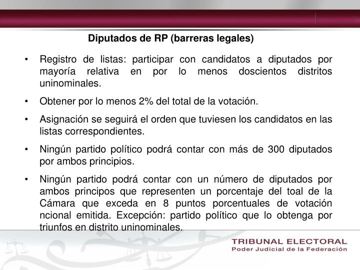 Diputados de RP (barreras legales)
