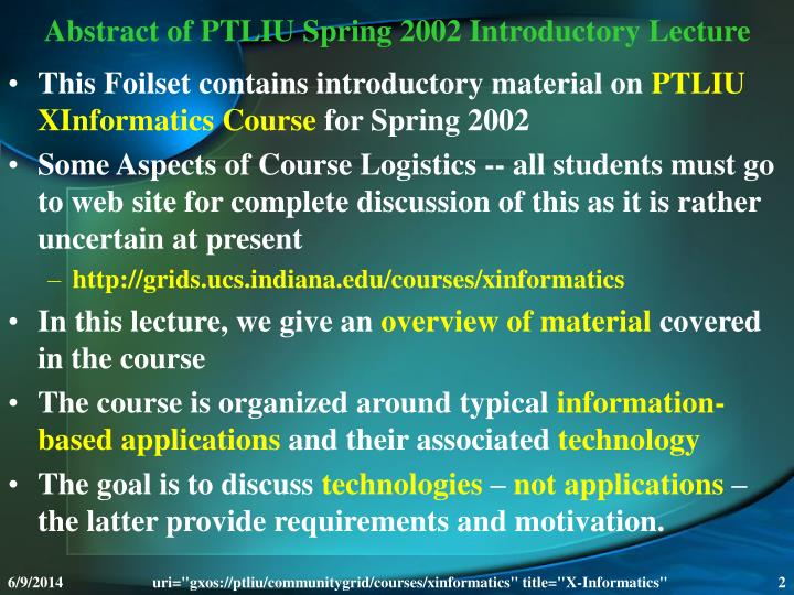Abstract of ptliu spring 2002 introductory lecture