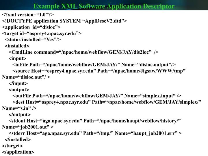 Example XML Software Application Descriptor