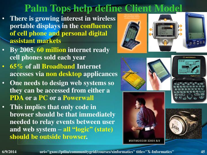 Palm Tops help define Client Model