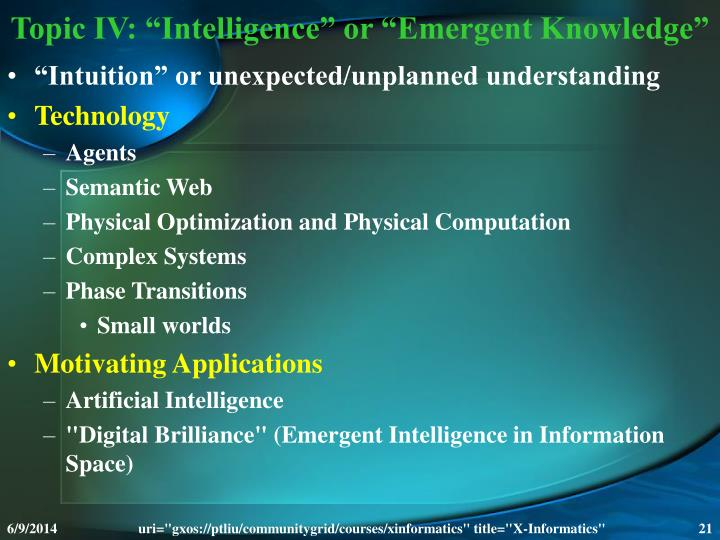 "Topic IV: ""Intelligence"" or ""Emergent Knowledge"""