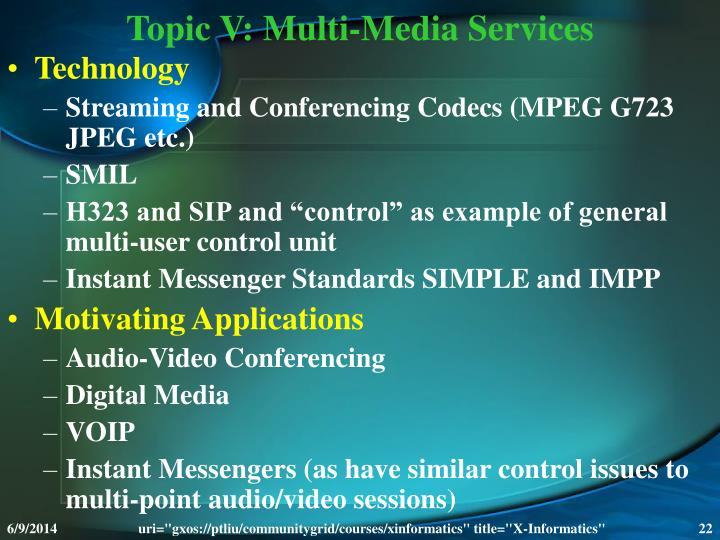 Topic V: Multi-Media Services