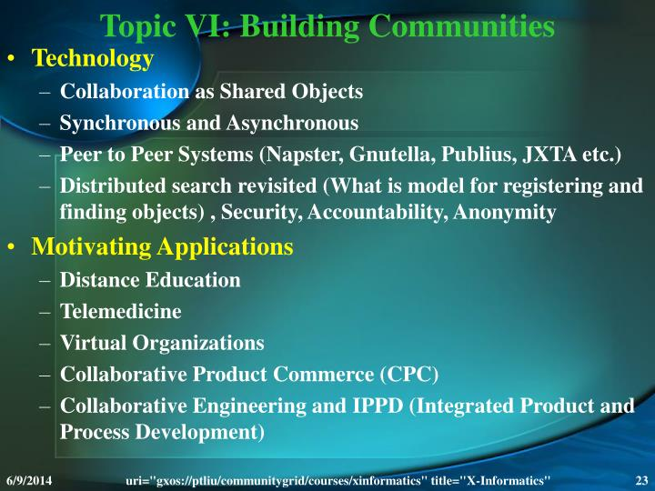 Topic VI: Building Communities