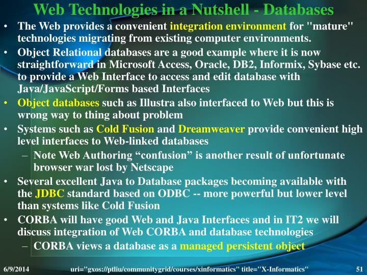 Web Technologies in a Nutshell - Databases