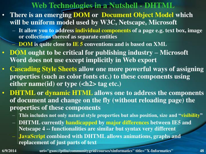 Web Technologies in a Nutshell - DHTML