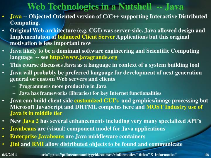 Web Technologies in a Nutshell  -- Java