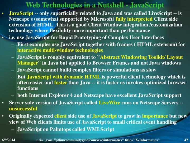Web Technologies in a Nutshell - JavaScript