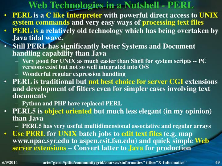 Web Technologies in a Nutshell - PERL