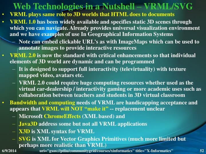 Web Technologies in a Nutshell – VRML/SVG