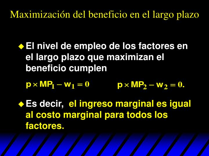 Maximización del beneficio en el largo plazo