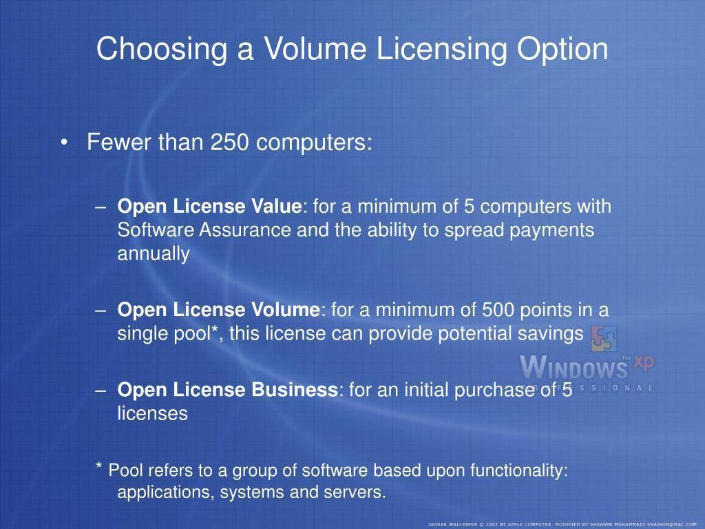 Choosing a Volume Licensing Option