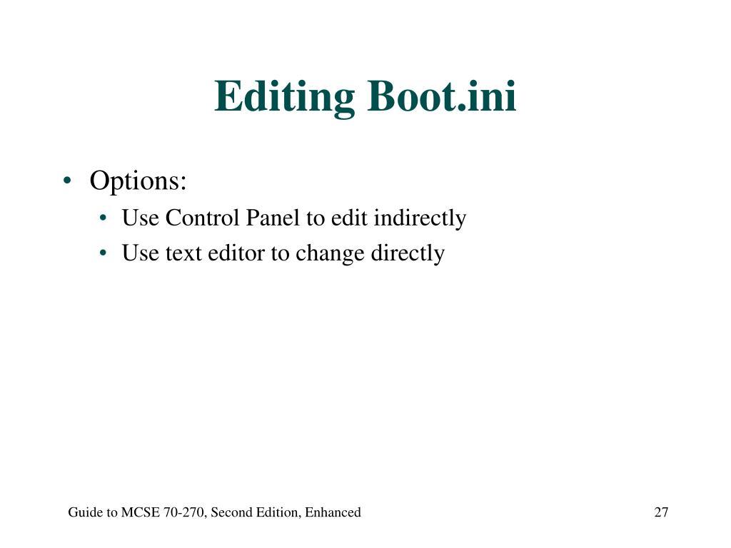Editing Boot.ini