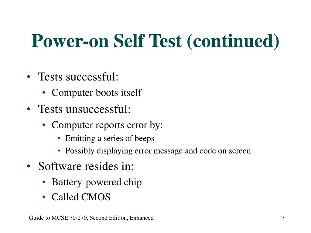 Power-on Self Test (continued)