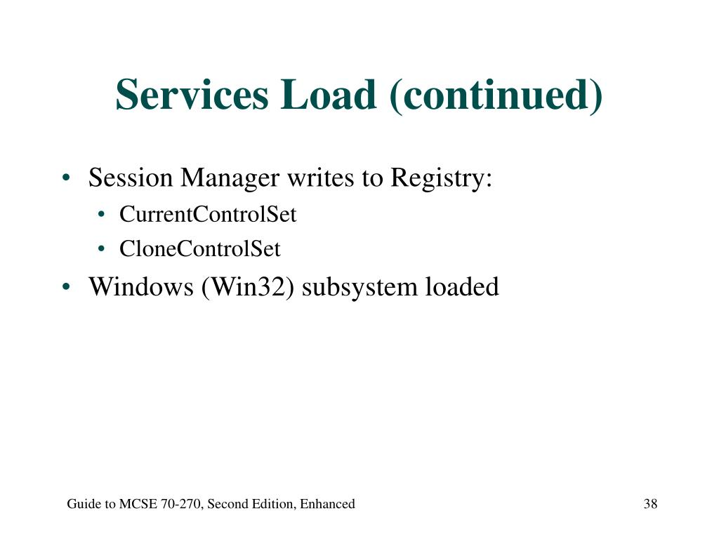 Services Load (continued)
