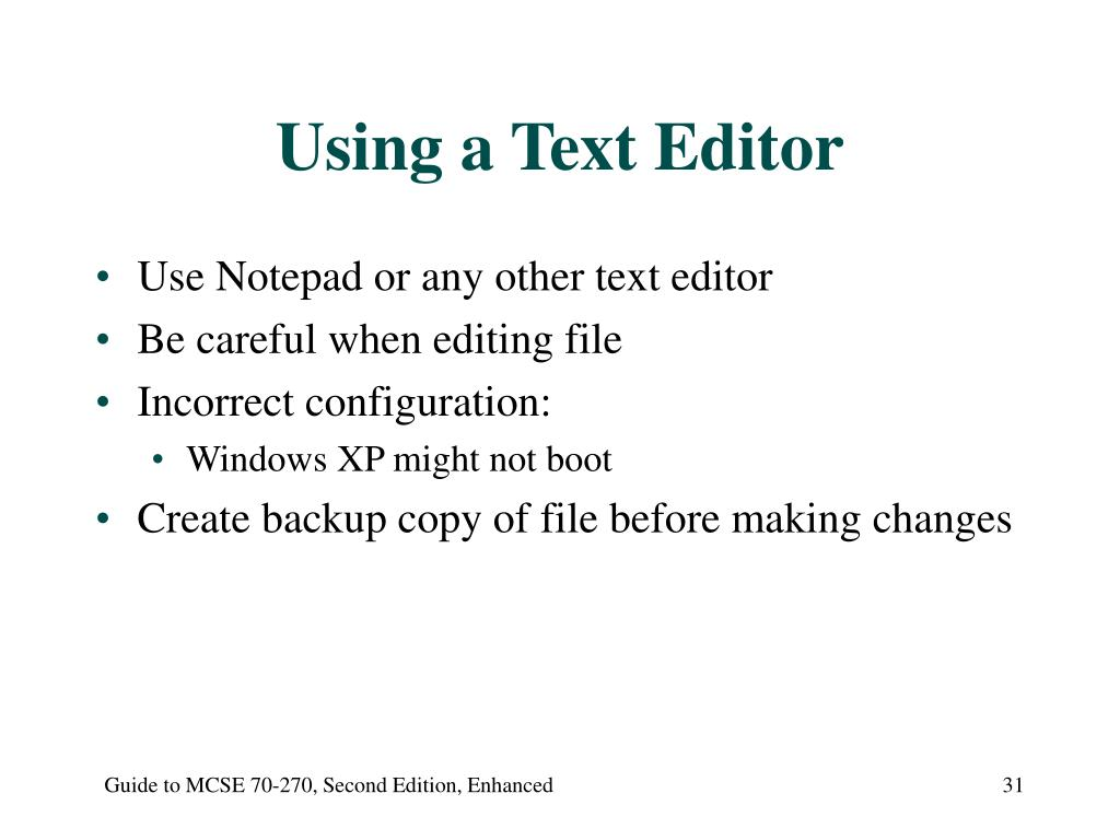 Using a Text Editor
