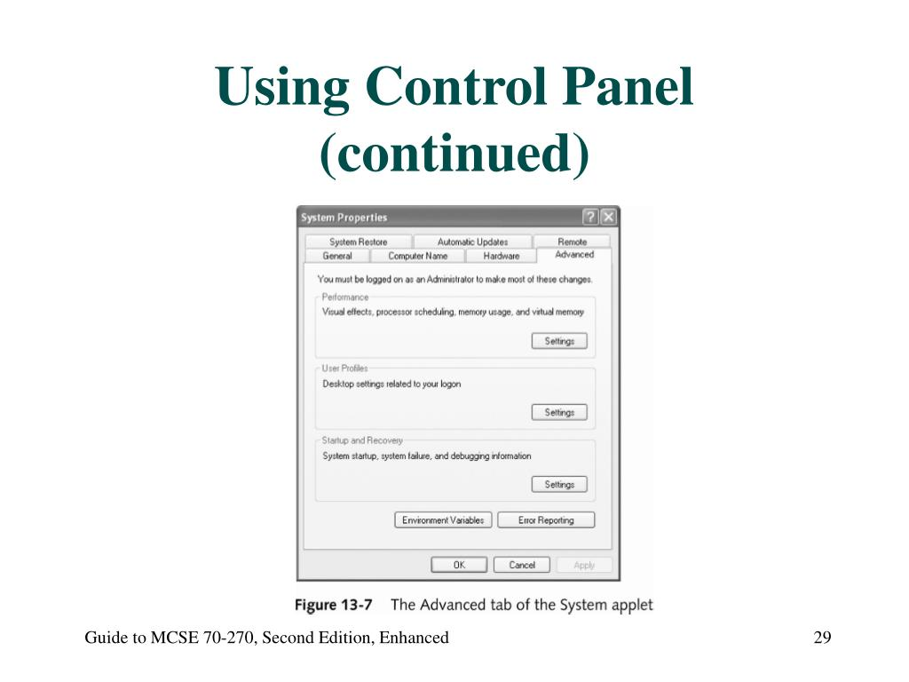 Using Control Panel (continued)