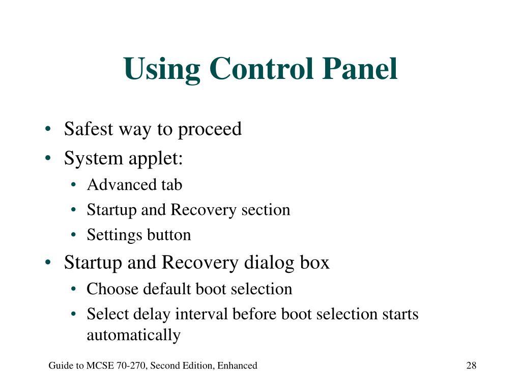 Using Control Panel