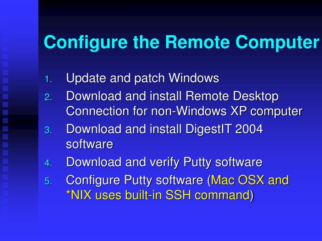 Configure the Remote Computer