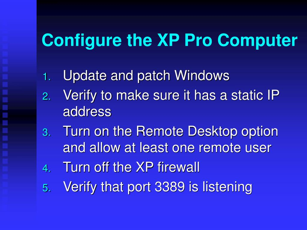 Configure the XP Pro Computer