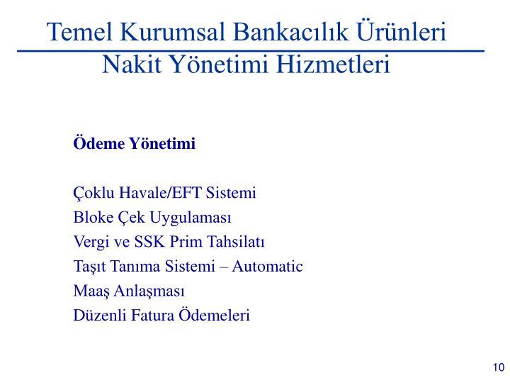 Temel Kurumsal Bankacılık Ürünleri